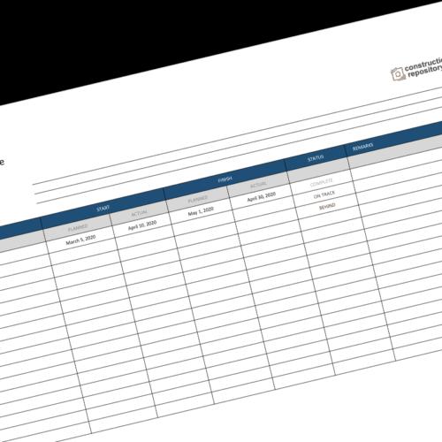 Construction Milestone Schedule