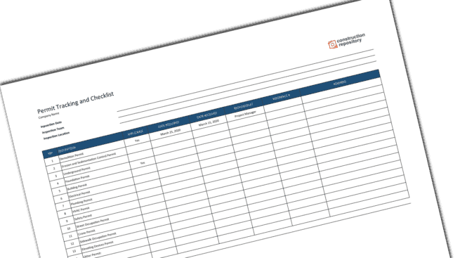 Construction Permit Tracking Log