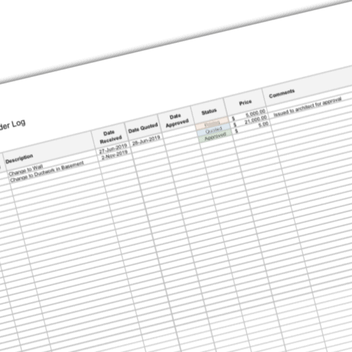 Construction Change Order Log Template