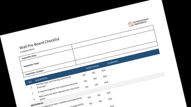 Construction Preboard Checklist