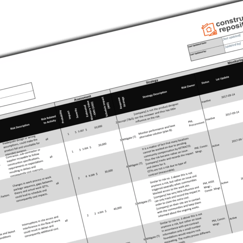 construction risk register template