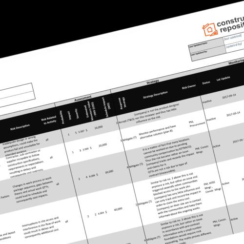 construction risk register template
