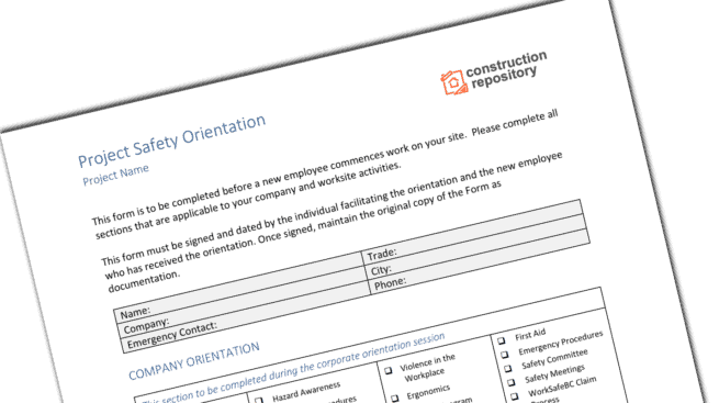 Safety orientation template