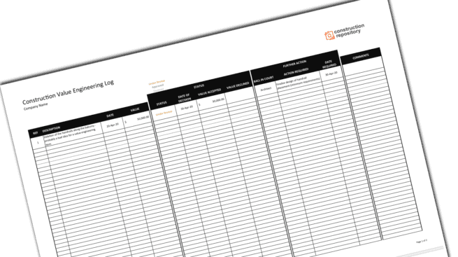 Construction Value Engineering Template