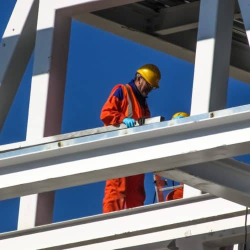 Worker on steel stock image