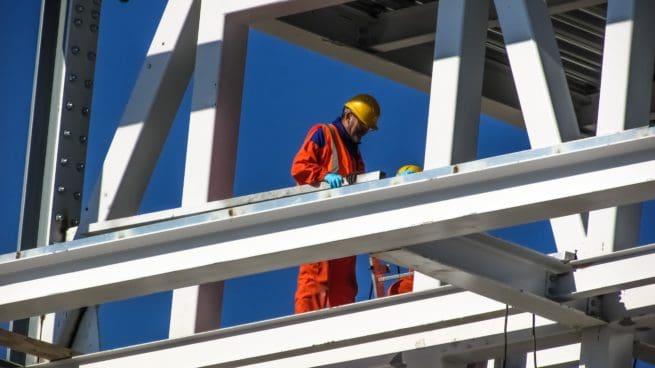 Worker on steel stock image