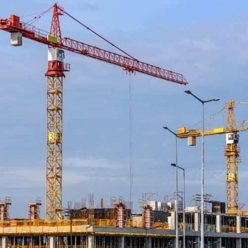 Stock photo - cranes over jobsite