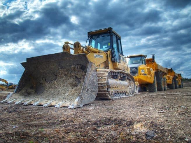 Bulldozer on dirt stock image