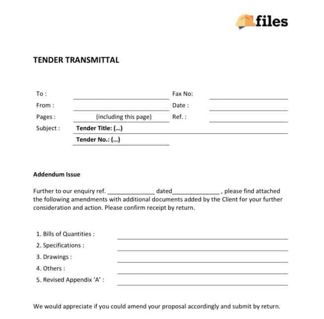 Construction tender transmittal