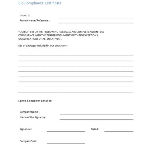 Bid Compliance Template