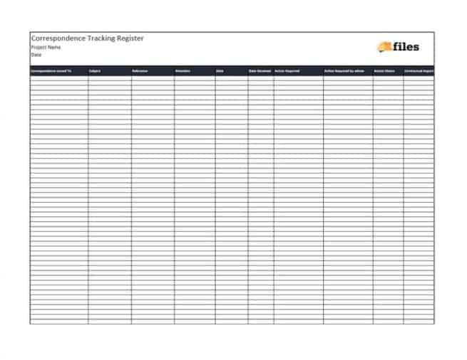 Correspondence tracker template