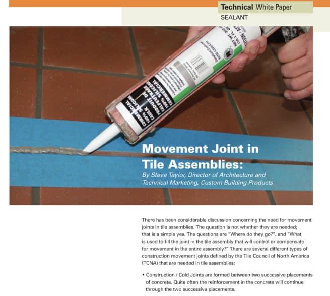 Movement joints in tile assemblies