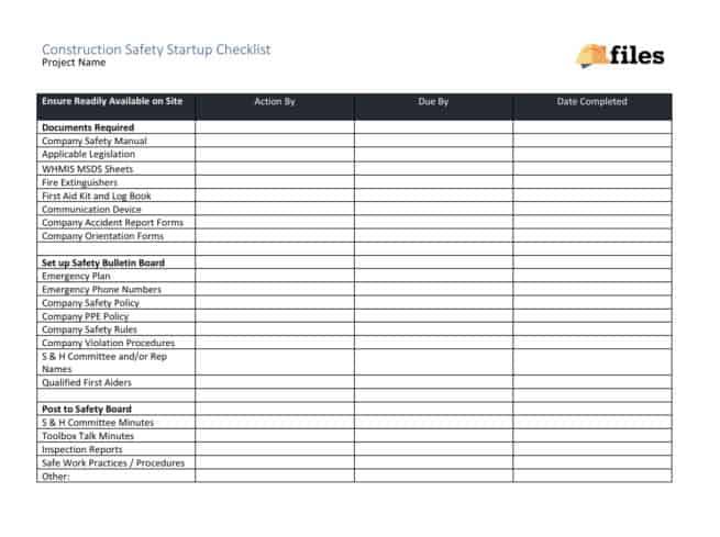 Construction safety startup checklist
