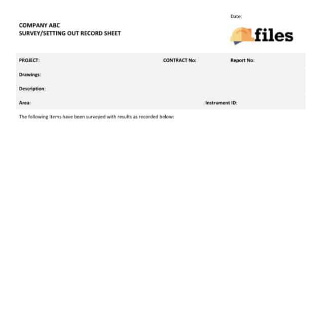 Surveying check sheet
