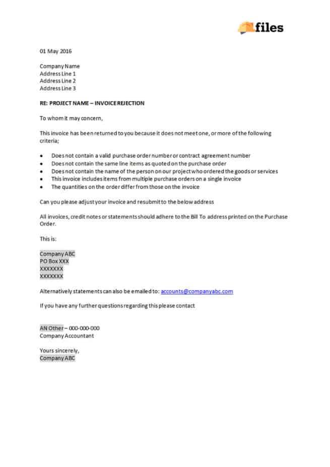 Construction supplier invoice rejection letter