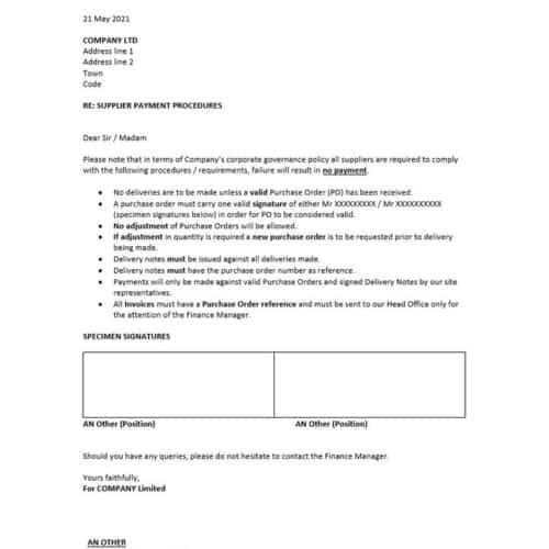 Supplier Payment Procedure