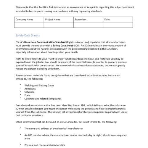 Safety Meeting - Safety Data Sheets