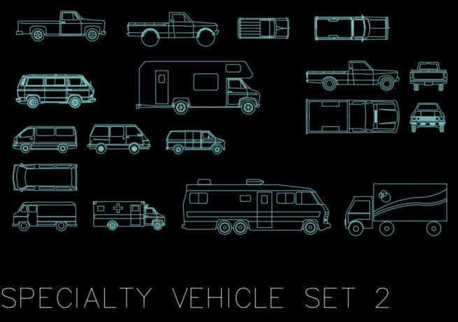 AutoCAD blocks - specialty vehicles set 2