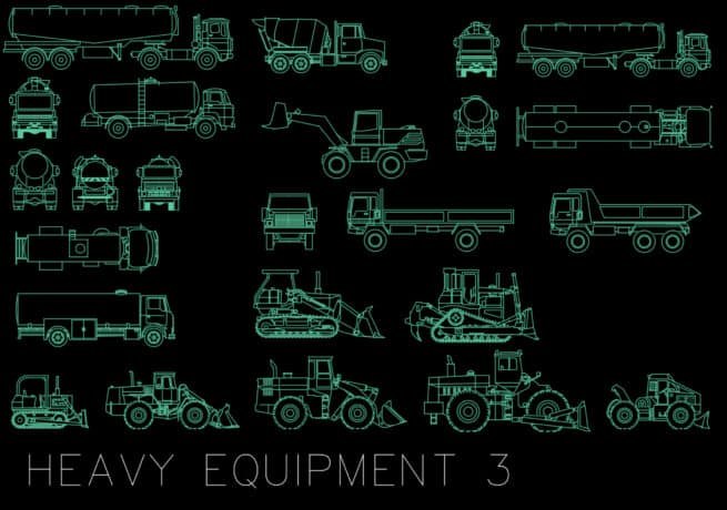 heavy equipment 3 - autocad blocks