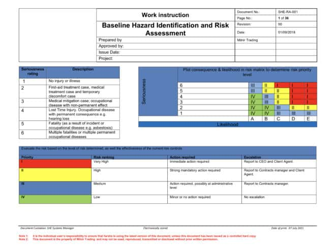 Project Specific Risk Assessment