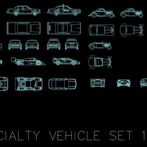 Specialty vehicle set 1 - AutoCAD blocks