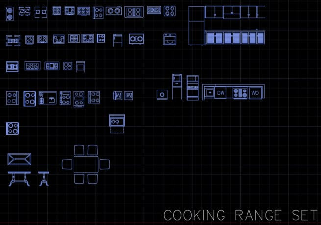 Cooking range - AutoCAD block set
