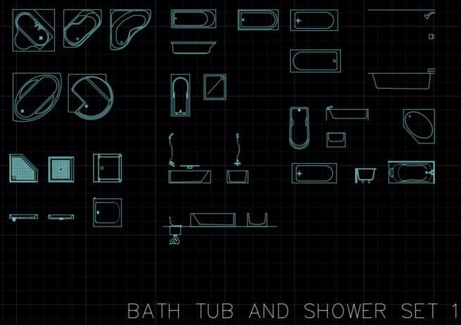 Bathtub and shower AutoCAD blocks