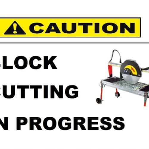 Block cutting construction sign