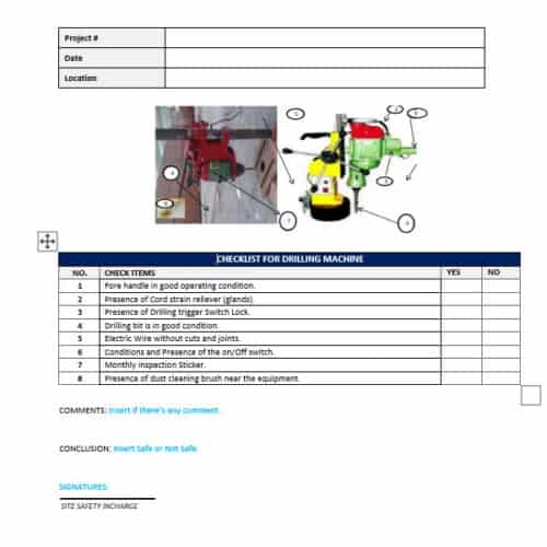 construction equipment checklist - drill press