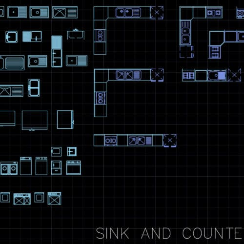 AutoCAD blocks - sink and counter