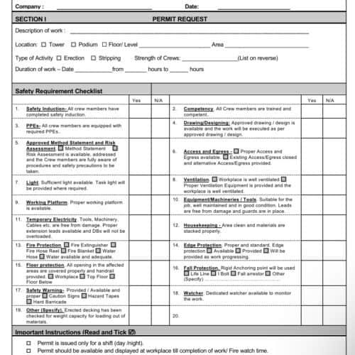 Work permit - hoist