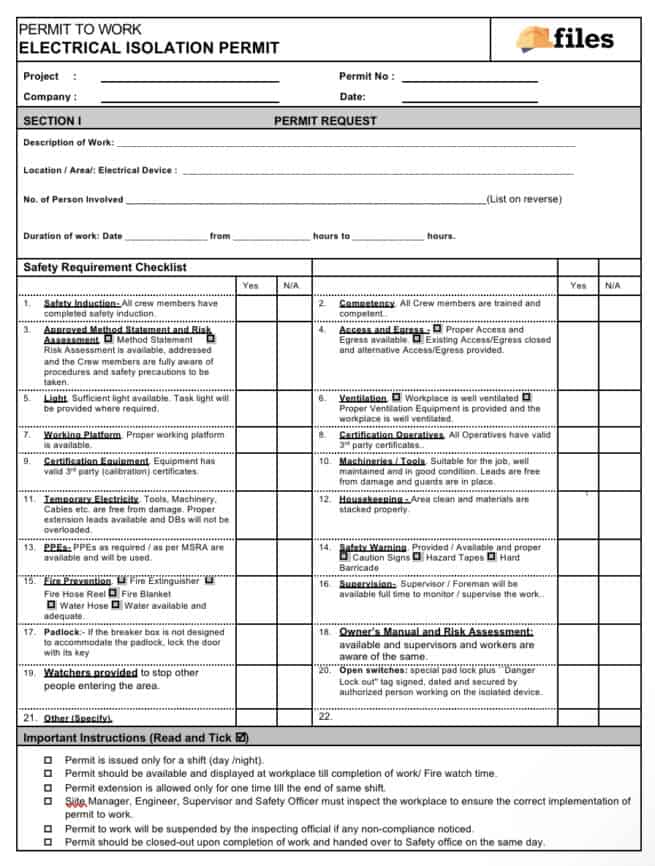 work permit - electrical isolation