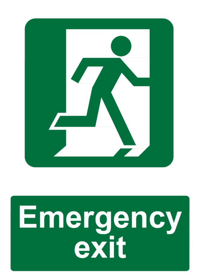 emergency exit construction sign